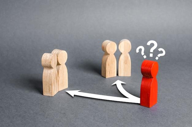 두 그룹의 사람들 사이의 갈림길에 있는 붉은 인간 인물 친구의 선택