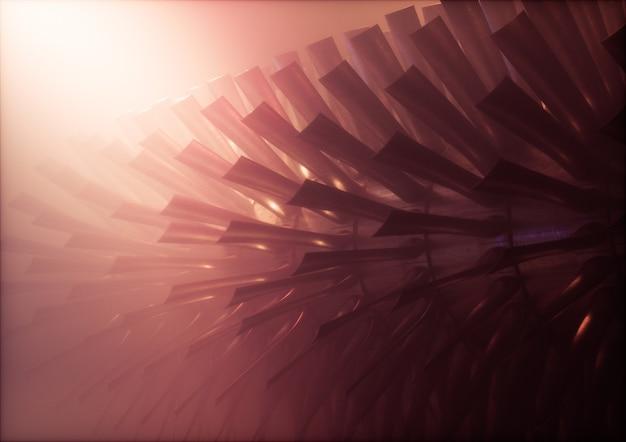 따뜻한 안개가 자욱한 환경에서 블레이드가 있는 빨간색 산업용 증기 터빈/엔진 로터. 3d 그림입니다.
