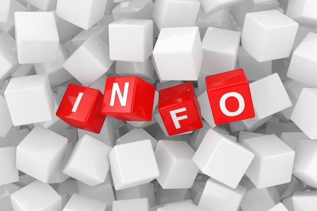 Красные информационные кубики в куче крайнего крупного плана белых пустых кубиков. 3d рендеринг