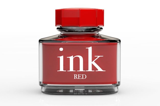 Red ink bottle on a white background