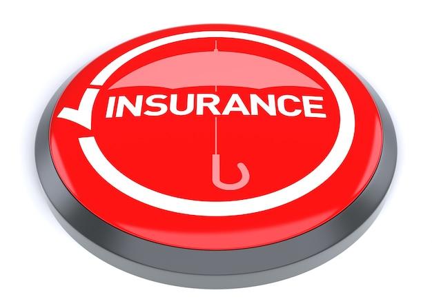 赤い保険ボタン、白い背景で隔離。