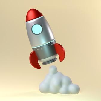 밝은 배경에 빨간 철 로켓 발사 3d 그림