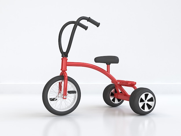 Red kid tricycle-bike abstract bike scene minimal 3d rendering