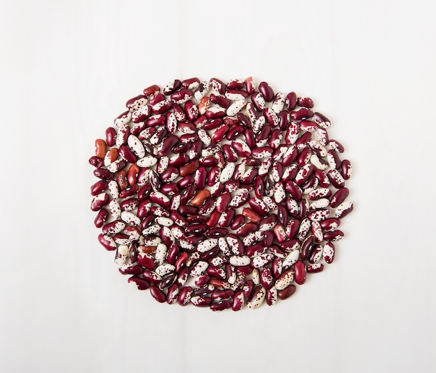 Red kidney beans.white surface.top view