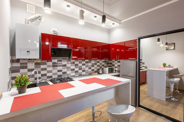 Red kitchen in modern style
