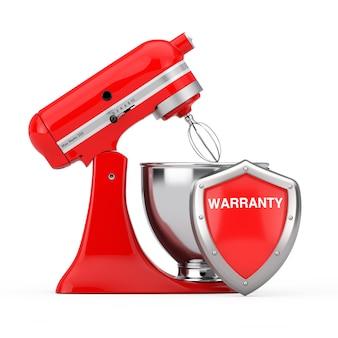 흰색 바탕에 빨간색 금속 보호 보증 방패가 있는 빨간색 주방 스탠드 식품 믹서. 3d 렌더링