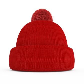 Красная вязаная зимняя шапка изолирована