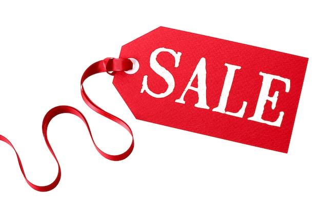Цена продажи тег с красной лентой