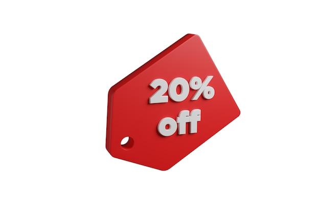 Красная этикетка с надписью 20% от изолированного