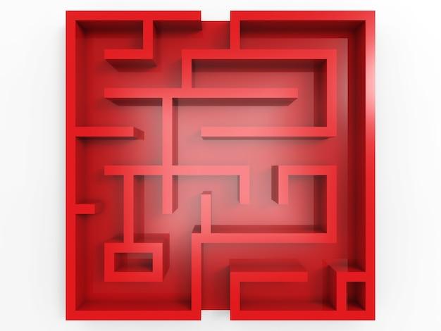 Красный лабиринт на белом фоне вид сверху
