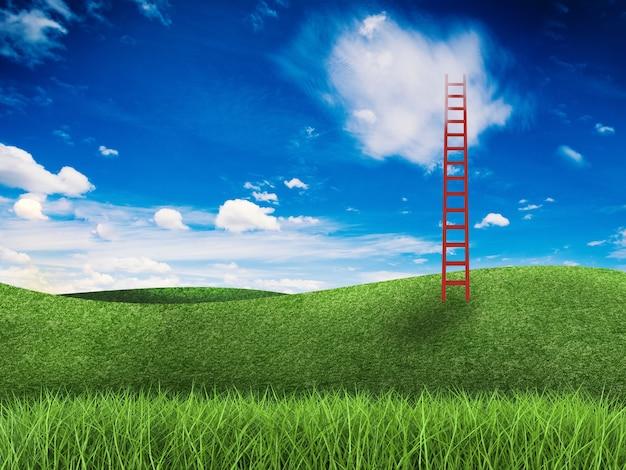 Красная лестница поднимается к небу в зеленом поле