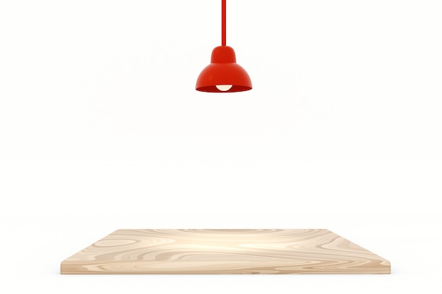 Red lamp with wood top table isolate on white background, 3d illustration.
