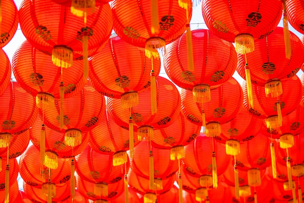Red lantern decoration for chinese new year festival at chinese shrine ancient chinese art with the chinese alphabet