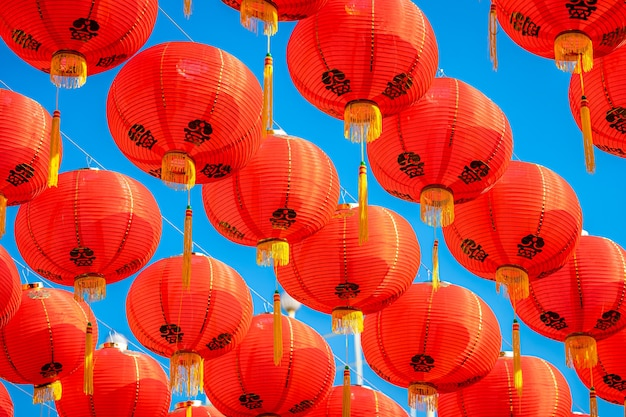 Red lantern decoration for chinese new year festival at chinese shrine