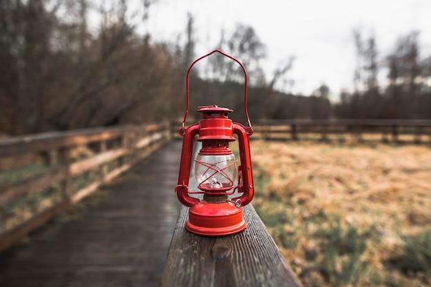 Red lantern on railings