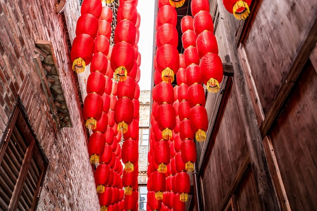 Red lanterns in the alleys of ancient towns in china