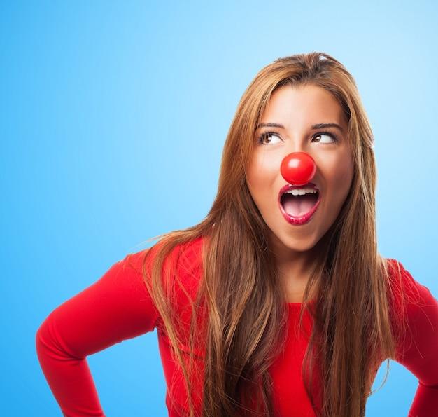 Red laugh makeup young jokes