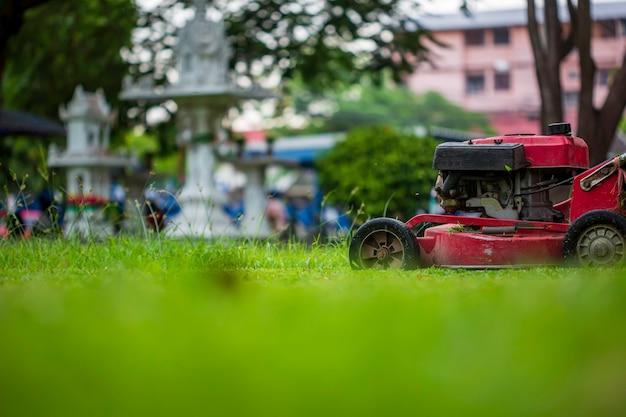 빨간 잔디 깎는 기계 잔디를 절단입니다. 원 예 개념 배경
