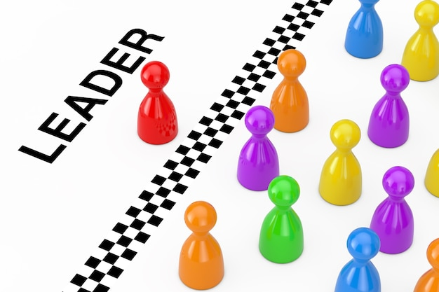 Red leader board game pawn figure behind the finish line with leader sign on a white background. 3d rendering