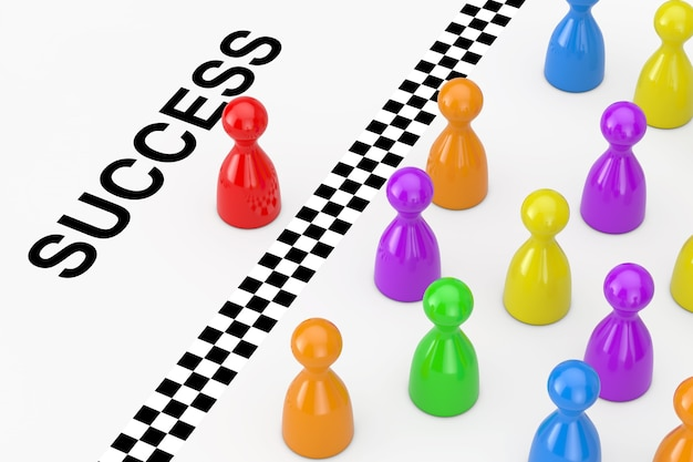 Red leader board game pawn figure behind the finish line with success sign on a white background. 3d rendering