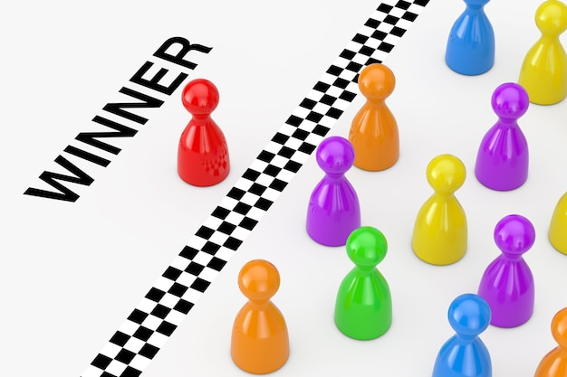 Red leader board game pawn figure behind the finish line with winner sign on a white background. 3d rendering