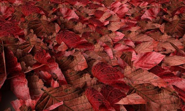 Red leafs bakground, 3d rendering
