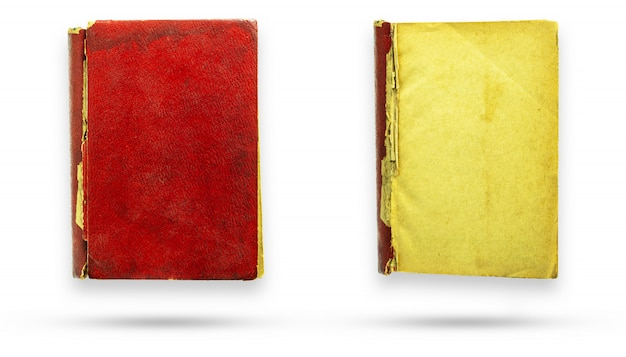 Red leather cover old vintage book and blank page.