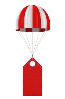 白地に赤い革のラベルとパラシュート