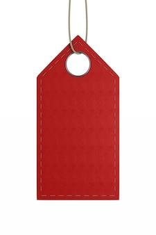 白いスペースに赤い革のラベル