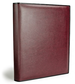 Red leather photo album cover isolated white background
