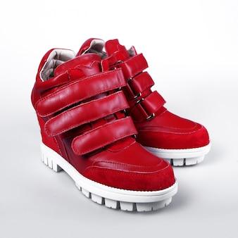Red leather platform sneaker