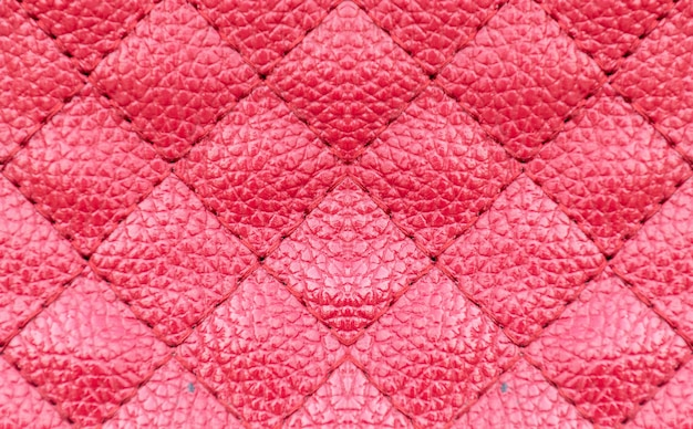 Red leather surface square pattern