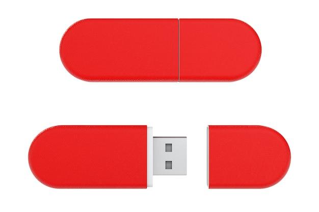 白い背景の上の赤い革のusbフラッシュメモリドライブ。 3dレンダリング。