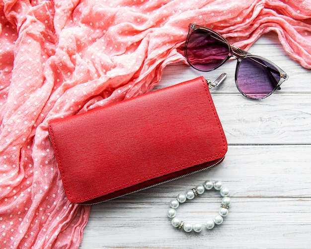 Red leather women wallet