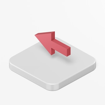 Red left arrow icon in 3d rendering interface ui ux element
