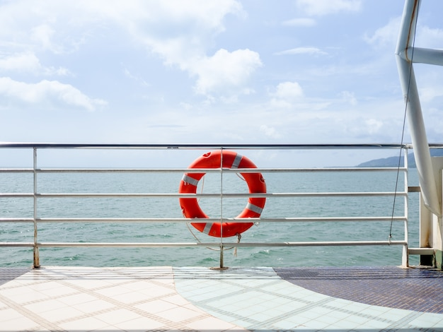 Red life ring on the ferry