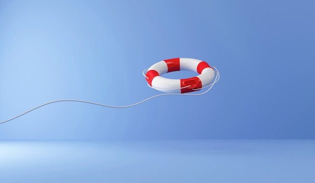 Красный спасательный круг с веревкой на синем фоне студии
