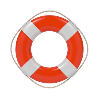 Red lifebuoy with white strips and rope. isolated on white.