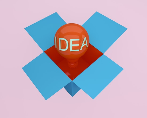 Red light bulbs glowing creative idea think outside the box. minimal concept idea.