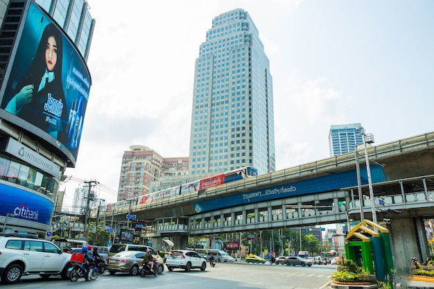 Red light traffic as car, motorcycle and bts in asoke intersection