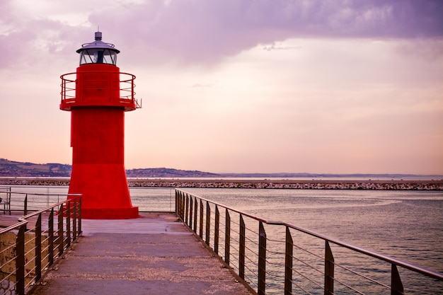 Red lighthouse of ancona, italy
