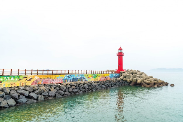 Red lighthouse in jeju island