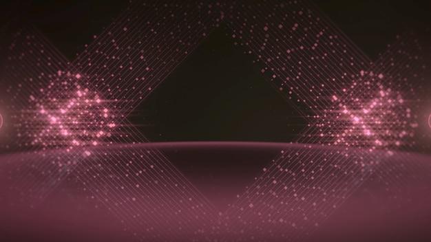赤い点の線とステージ上の光の効果、抽象的な背景。賞の3dイラストのためのエレガントで豪華なダイナミックスタイル