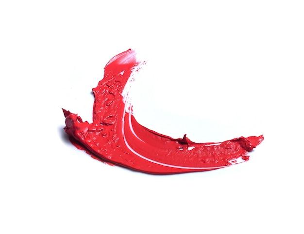 白で隔離の赤い口紅のブラシストローク