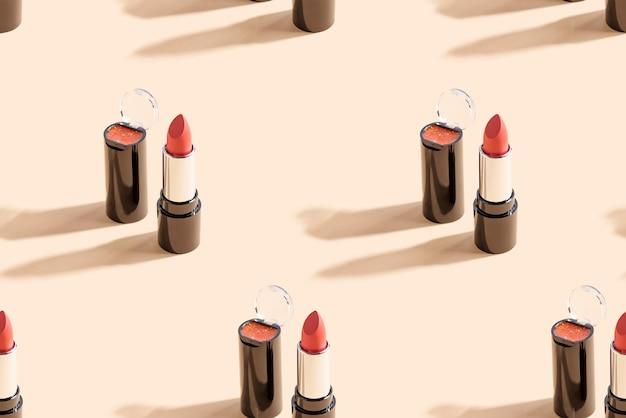 베이지 색 벽에 빨간 립스틱입니다. 원활한 패턴입니다.