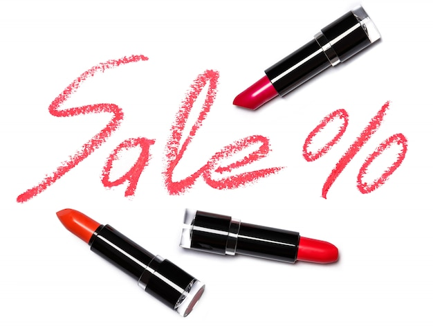 Red lipstick with lettering sale