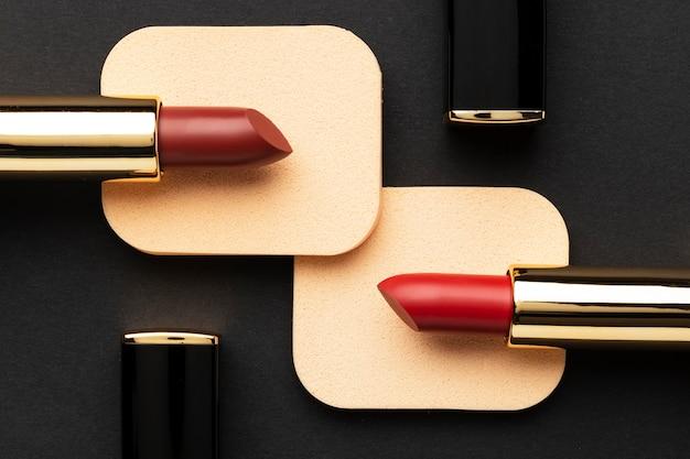 Red lipsticks arrangement above view