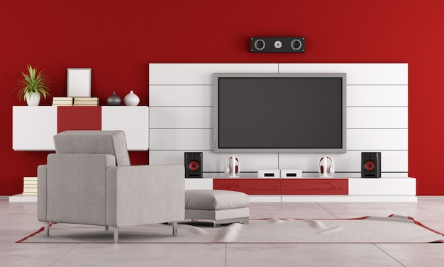 Tv가있는 빨간 거실