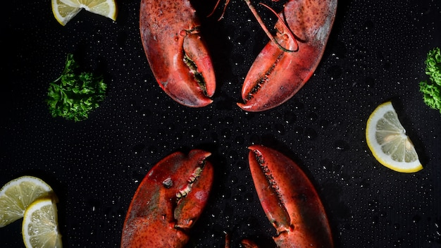 Red lobster with lemon and parsley on dark background.