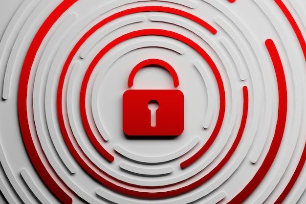 Red lock padlock